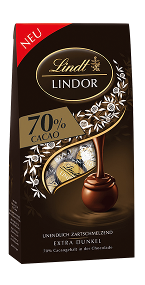 LINDT PREMIUM LINDOR BALL BAG DARK CHOCOLATE 70%, 136g