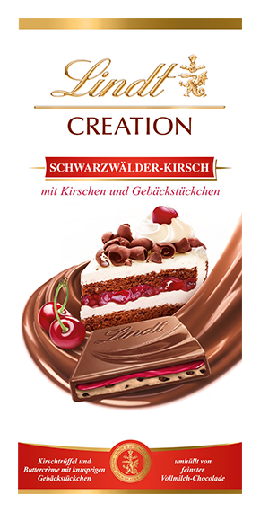LINDT PREMIUM CREATION BLACK FOREST CHERRY CHOCOLATE, 150g