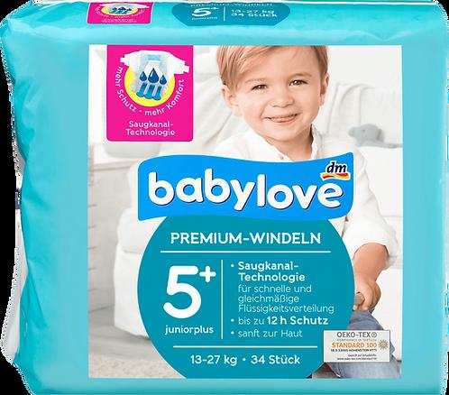 Baby Diapers premium size 5+, junior plus 13-27kg, 34 pcs