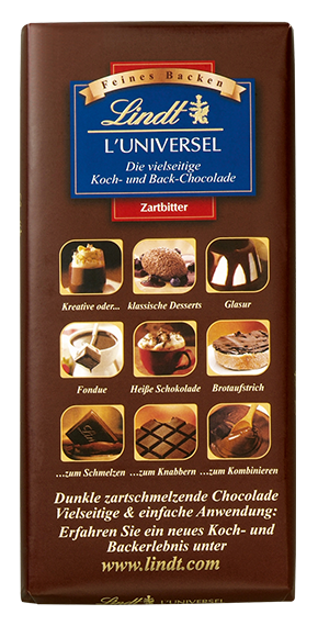 LINDT PREMIUM L'UNIVERSEL, COOKING AND BACK CHOCOLATE, 180g