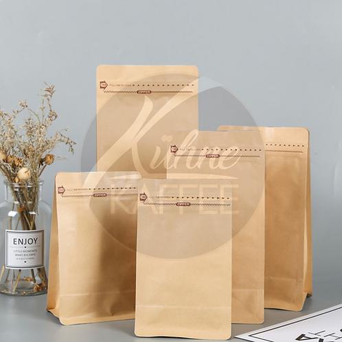 Kaffeepackung aus Kraftpapier Standbeutel mit flachem Boden 1Kg Bag