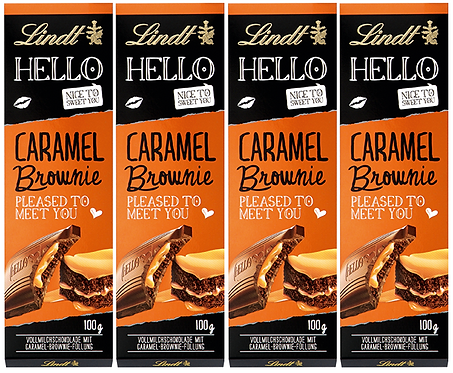 LINDT HELLO CARAMEL BROWNIE, 4 Packs, 100g