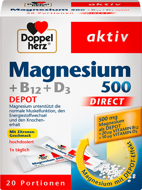 Magnesium Plus D3 with B12 direct granules 20 pieces, 32 g