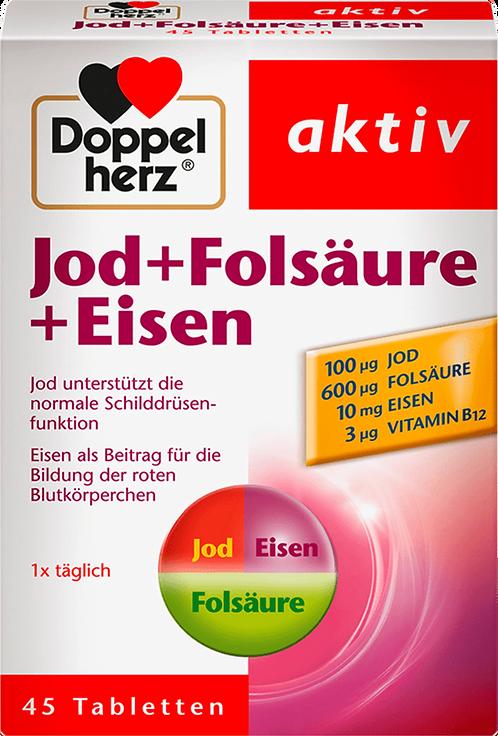 Doppelherz Iodine + folic acid + iron tablets 45 pc, 19.1 g