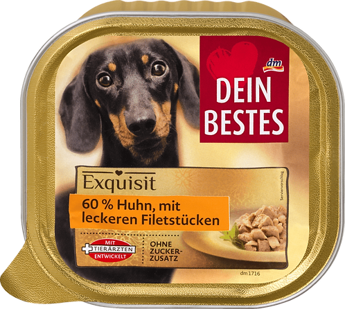 Wet food for dogs, exquisite, 60% chicken with tasty fillets, 300 g