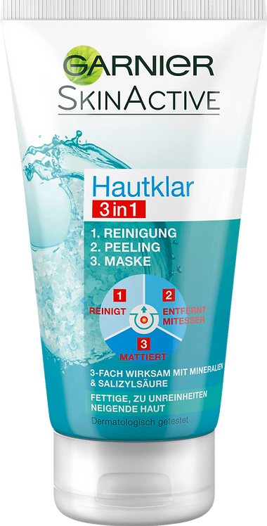 Garnier Skin Clear 3in1 Cleansing + Peeling + Mask, 150 ml