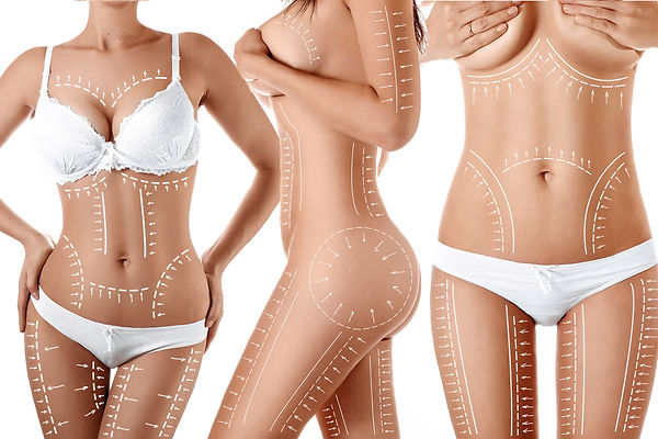 Female body with patterned lines and arr