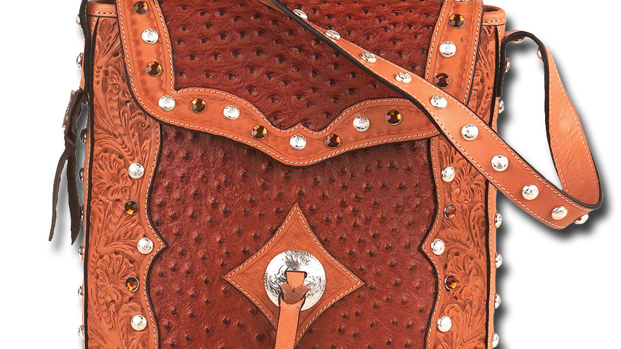 Tooled OSTRICH Leather Purse BRN~ by Montana Silversmiths