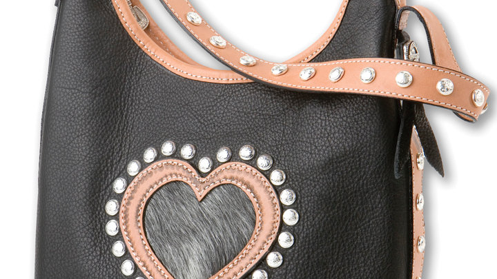 2 Compartment Tote/Bucket Bag BLK Heart ~by MT Silversmiths