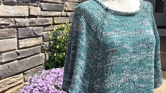 Side Tie Poncho - hand knit