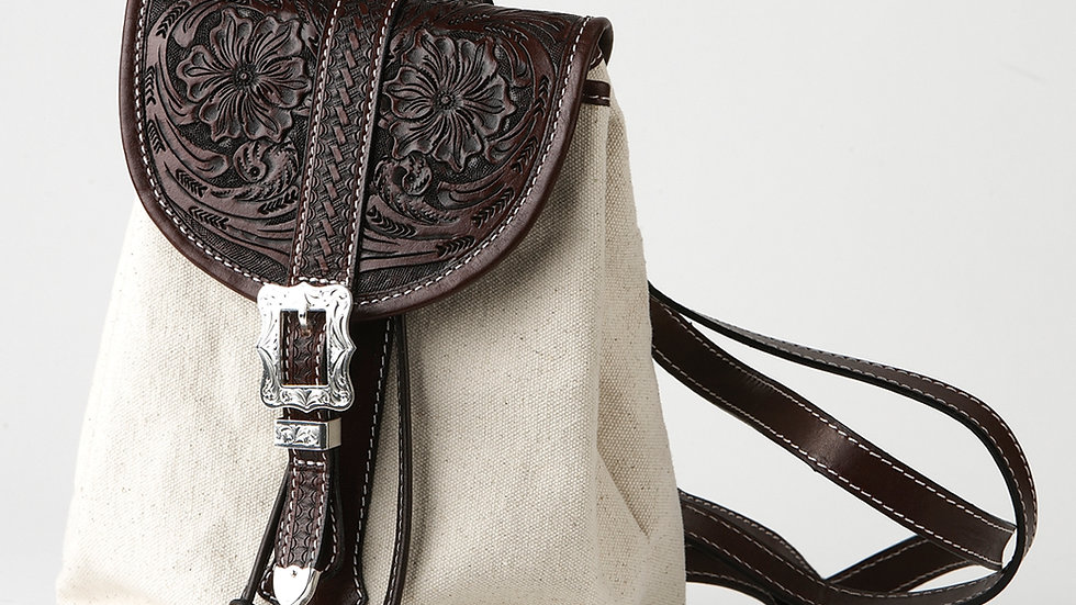 Canvas & Leather Backpack Purse ~by MT Silversmiths