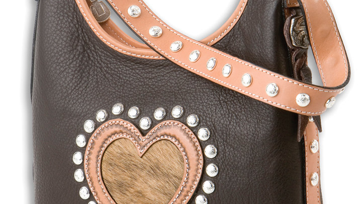 2 Compartment Tote/Bucket Bag BRN Heart ~by MT Silversmiths