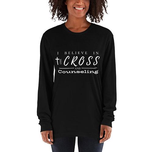 Cross + counseling long sleeve t-shirt (white lettering)