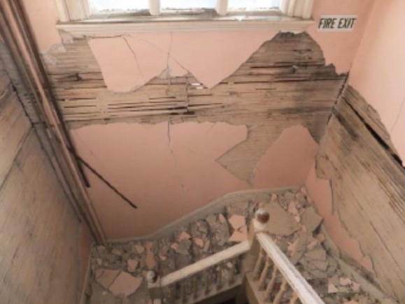 Damage to secondary staircase