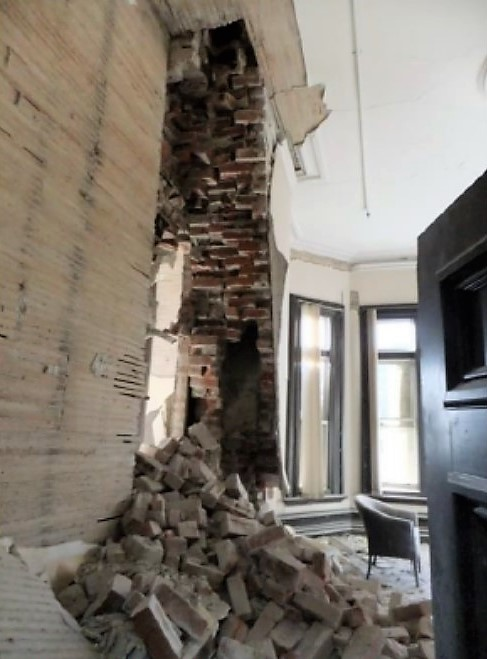 Collapse of fireplace