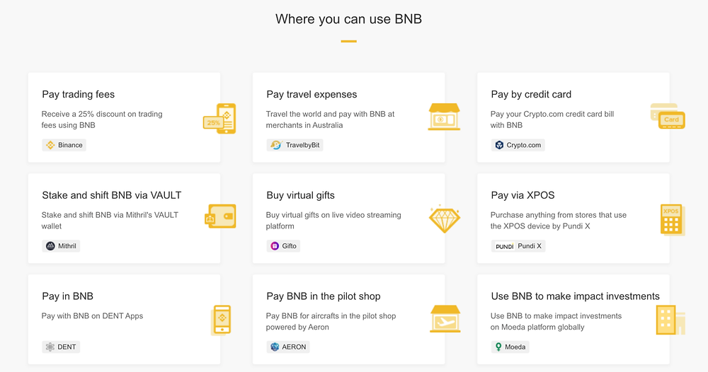 use cases of BNB coin