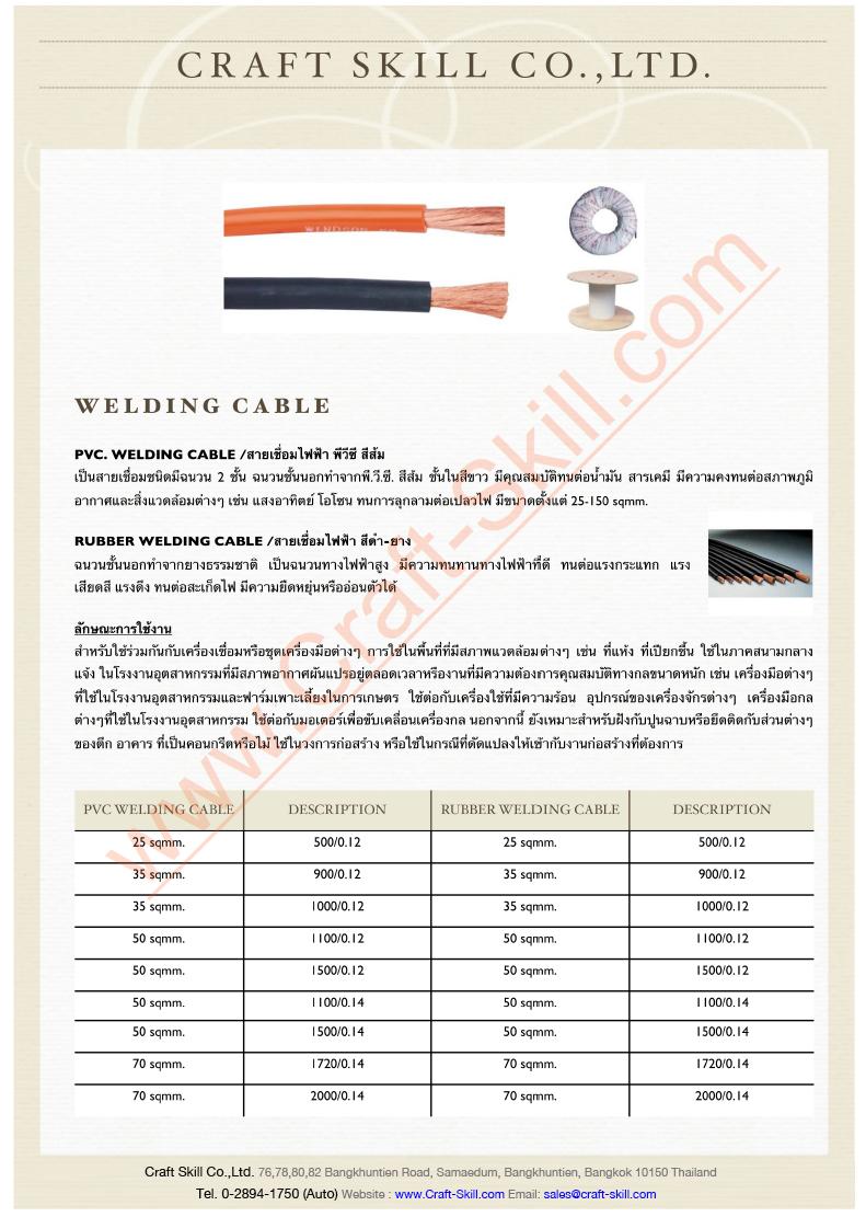 Welding Cableสายเชื่อม สายกราวน์ สายเคเบ