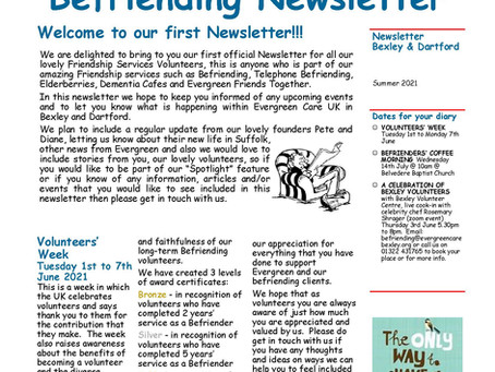 Evergreen's first ever newsletter for our befrienders.
