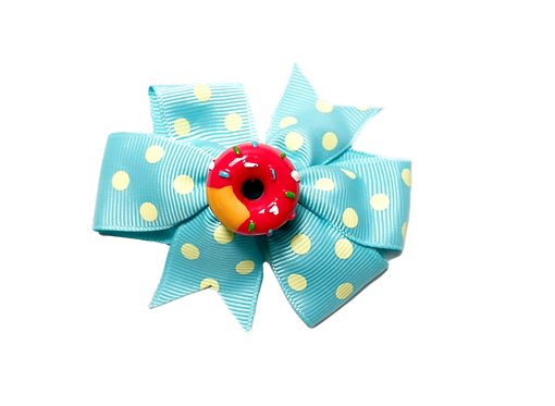 Pink Donut Bow-Blue