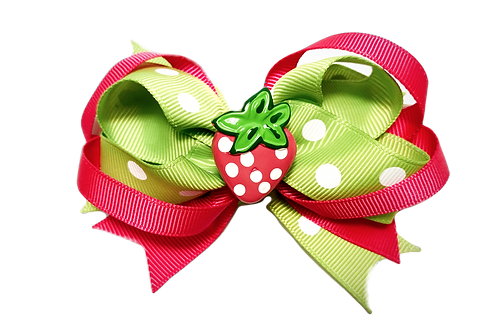Strawberry Bow-Pink & Green