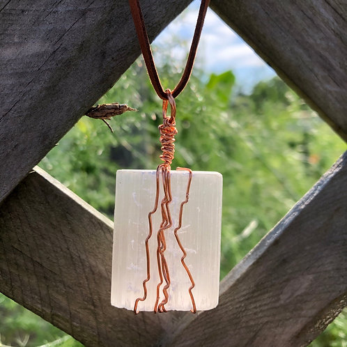 Wire-Wrapped Selenite Necklace
