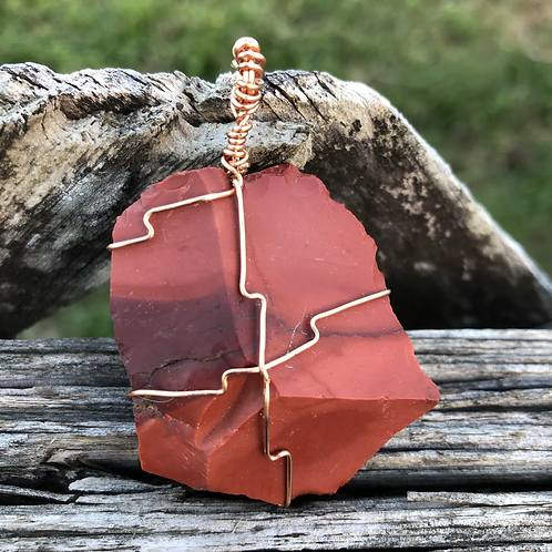 Wire Wrapped Kenyan Red Jasper Necklace