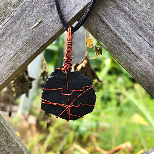 Wire Wrapped Raw Shungite Necklace