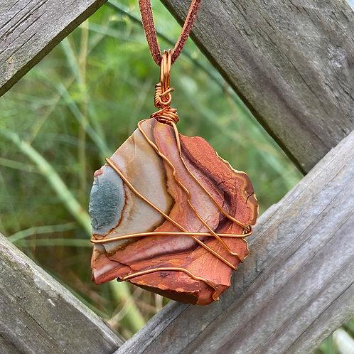 Wire Wrapped Desert Jasper Necklace