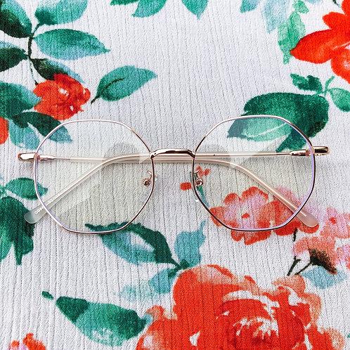 Rose Gold Hexagon Blue Light Blocking Glasses