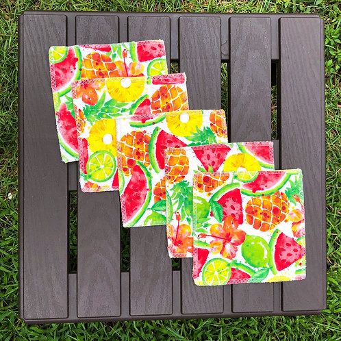 Watermelon/Pineapple Reusable Wipes
