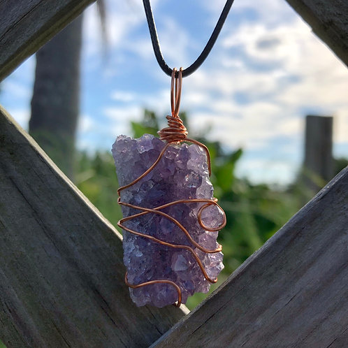 Wire-Wrapped Amethyst Cluster Necklace