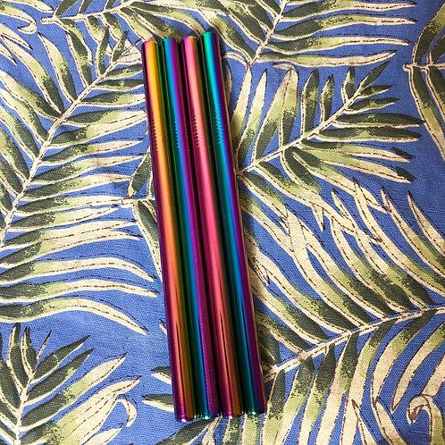 Reusable Metal Straws | Thick, Smoothie Style | Metallic Rainbow Stainless Steel