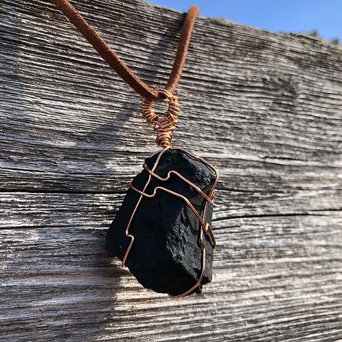 Wire Wrapped Shungite Necklace