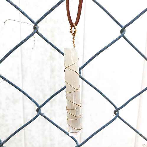 Wire Wrapped Selenite Necklace