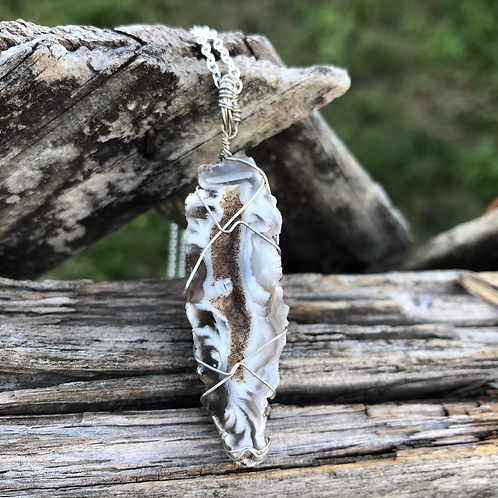 Wire Wrapped Agate Geode Necklace
