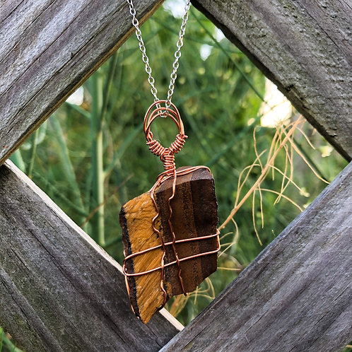 Wire Wrapped S. African Tiger's Eye Necklace