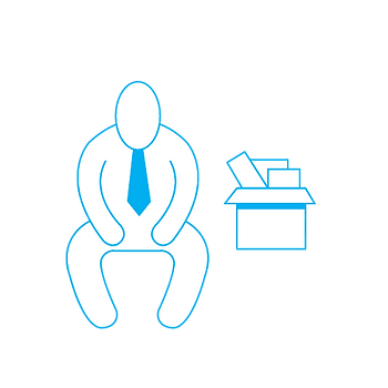 Man on Bench with Box Icon