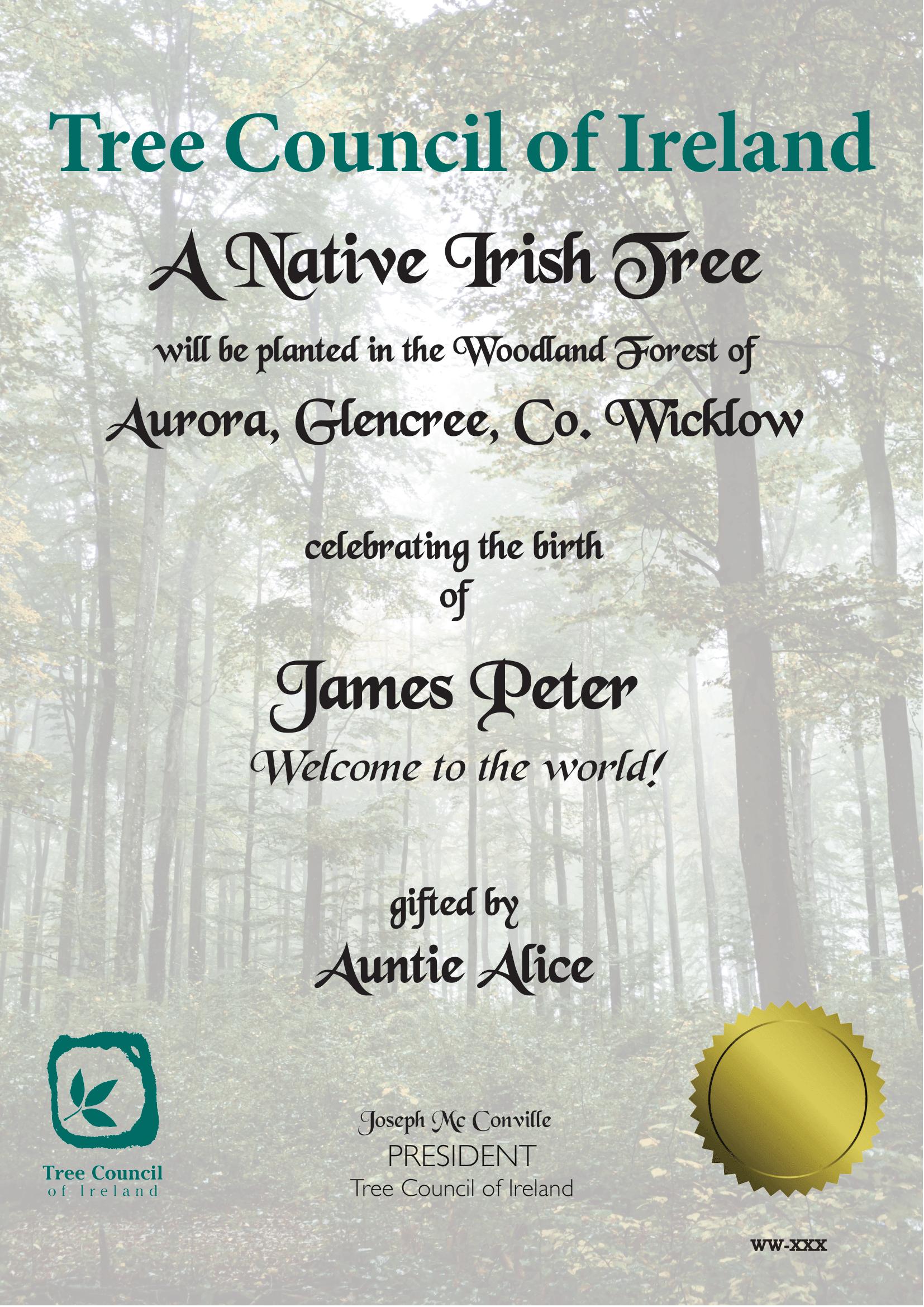 Tree Sponsorship Certificate