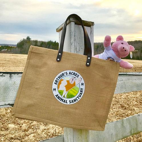 Arthur's Acres Burlap bag with Vegan leather handles