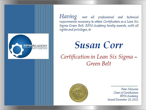 Certification-Lean/Lean Six Sigma Green Belt