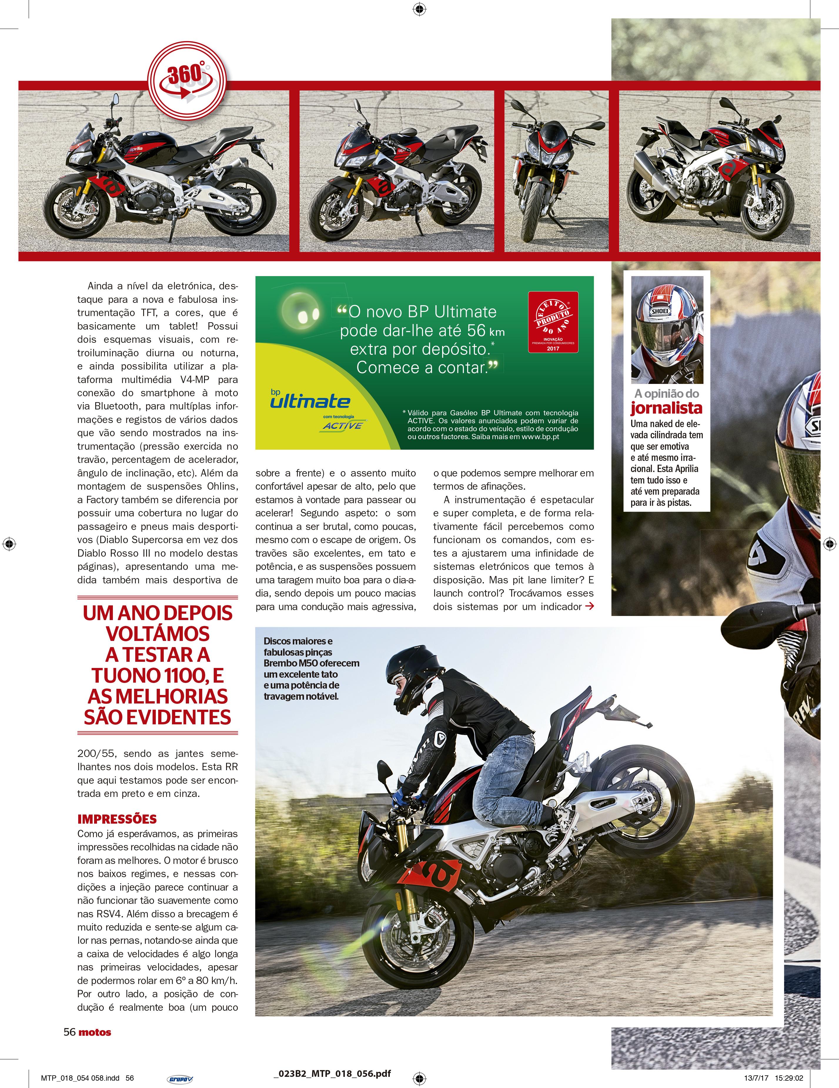 Reportagem Aprilia Tuono V4 1100 RR