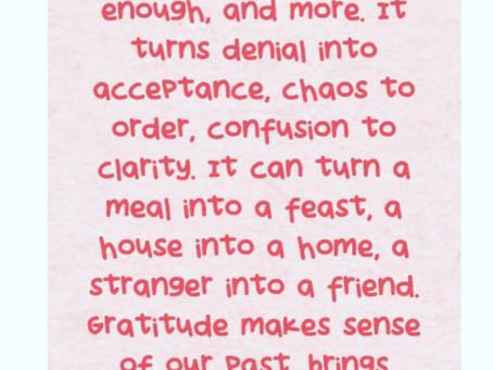 The Attitude of Gratitude...