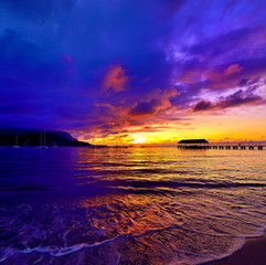 Hanalei Bay Pier Sunset