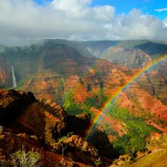 Waterfall & Rainbow at the Canyon