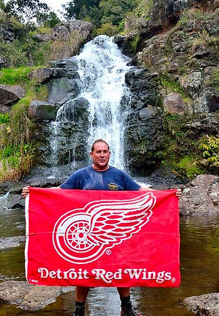 Hiking on the island of Kauai, Go Detroit Red Wings