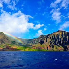 Napali Coast and rainbow