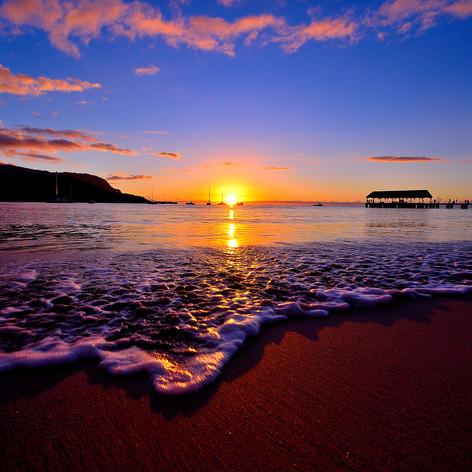 Sunset Waves of Hanalei Bay