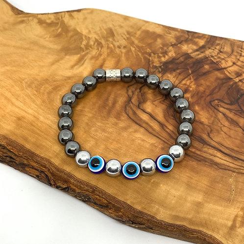 Hematite Evil Eye Bracelet