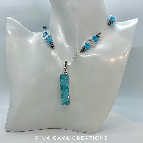 Aqua Stone Floating Necklace