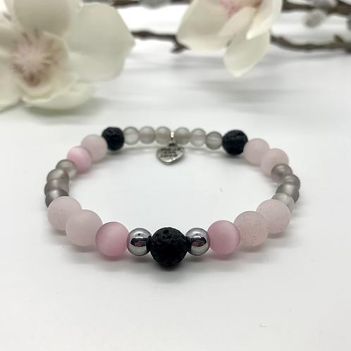 Rose Quartz Lava Stone Bracelet